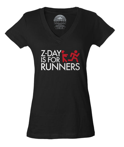 Women's Z Day Is For Runners Vneck T-Shirt - Zombies Runner Shirt