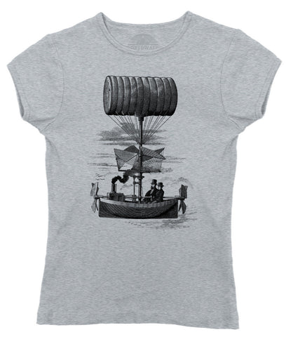 Women's Airship Boat Steampunk T-Shirt - Juniors Fit