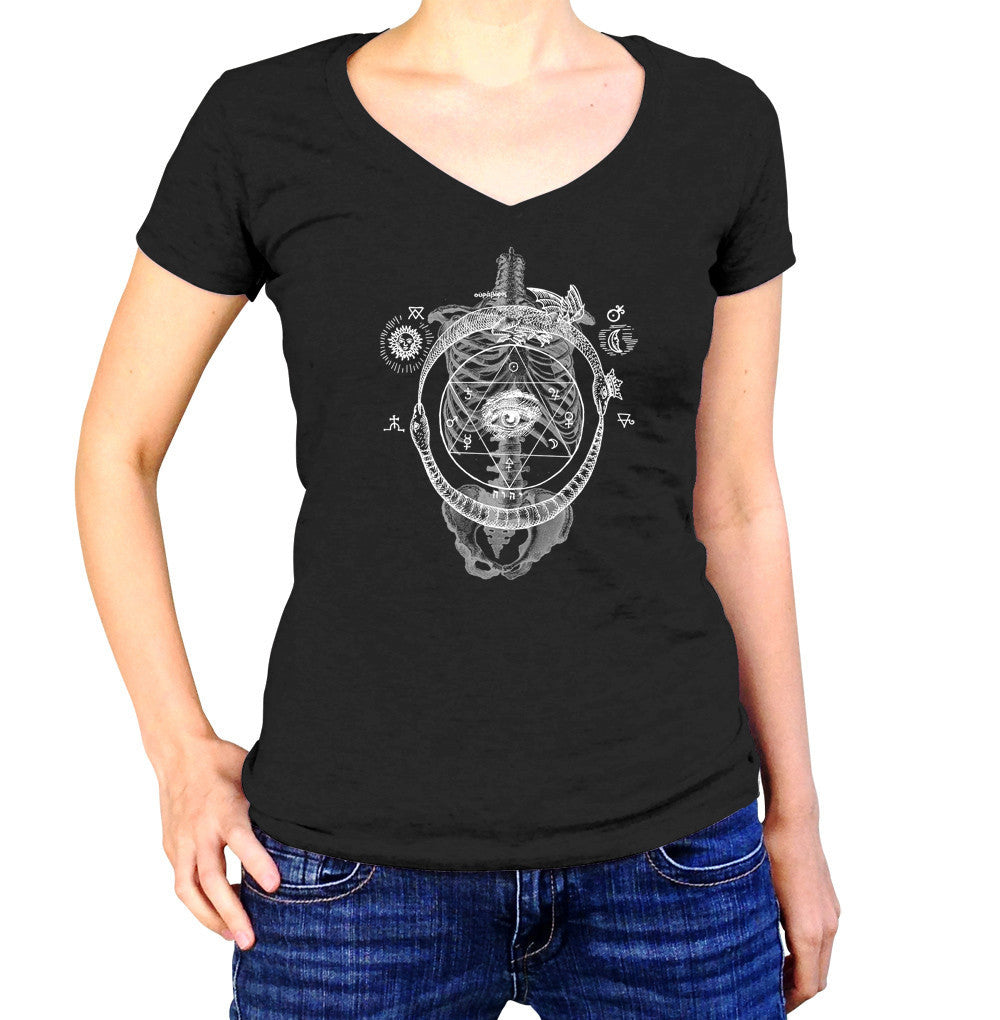 Women's Skeletal Alchemy Collage Vneck T-Shirt - Juniors Fit
