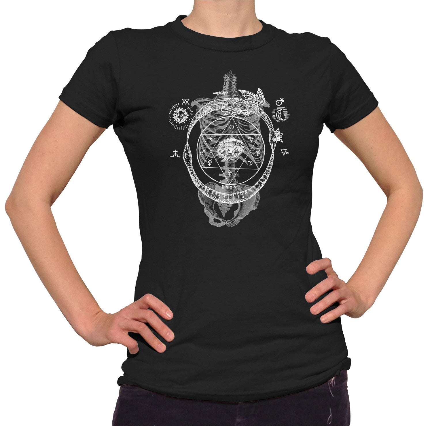 Women's Skeletal Alchemy Collage T-Shirt - Juniors Fit