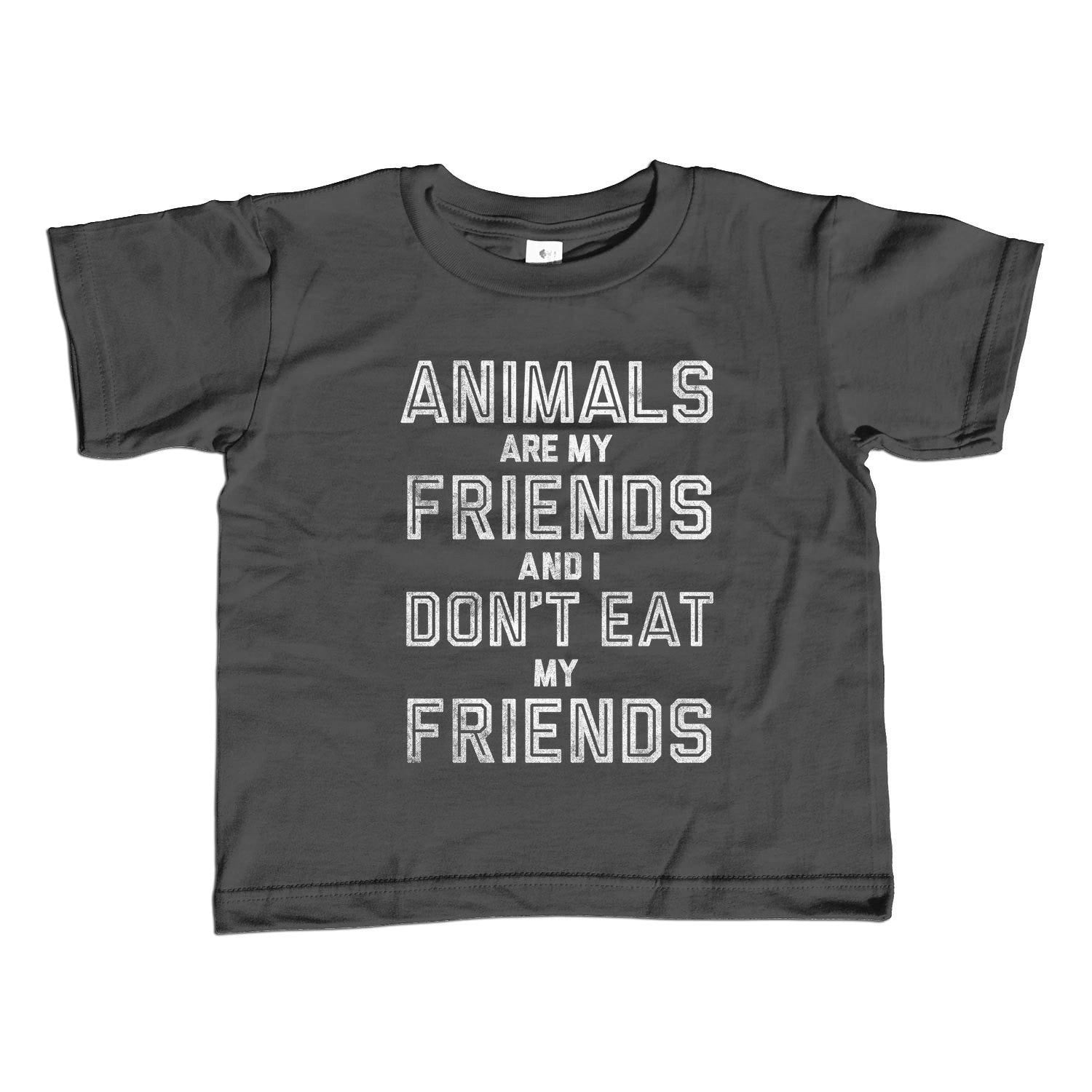 Girl's Animals Are My Friends and I Don't Eat My Friends T-Shirt - Unisex Fit Vegetarian Kids TShirt