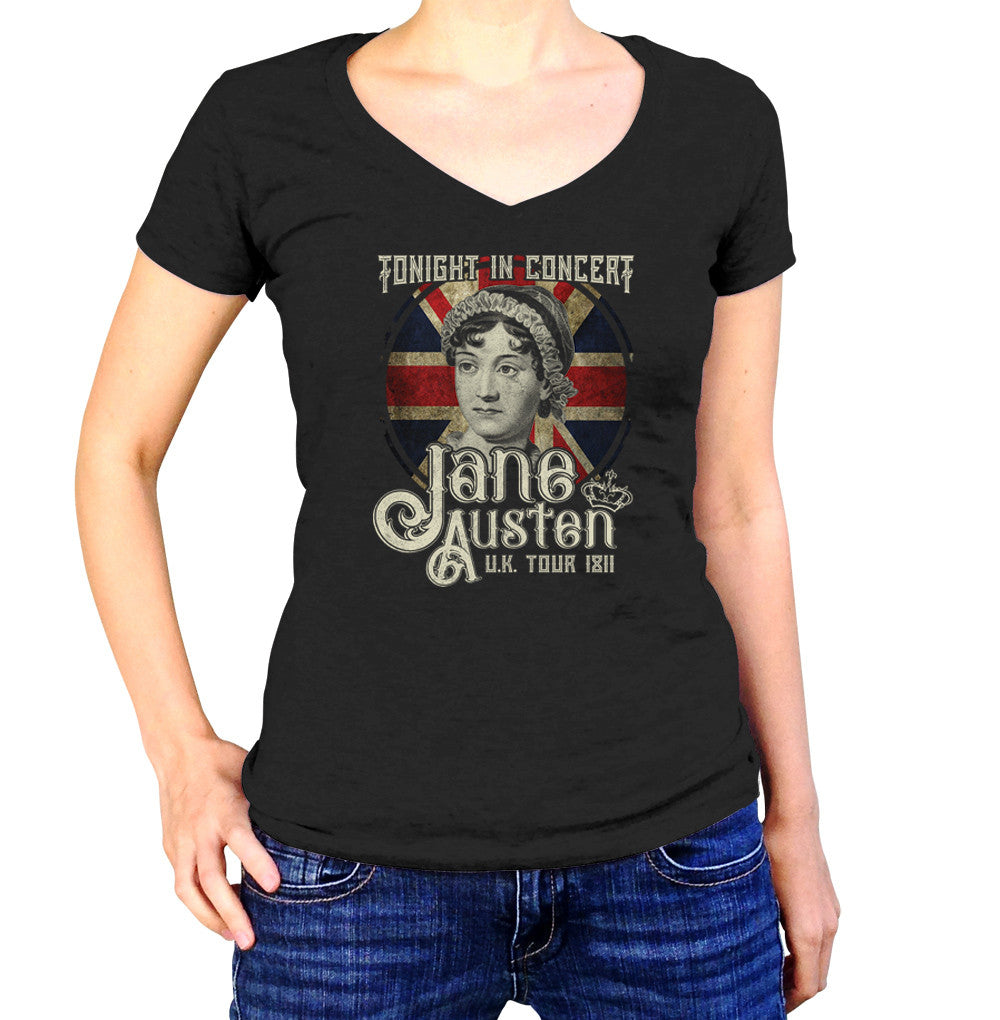 Women's Jane Austen Rock and Roll UK Tour Vneck T-Shirt