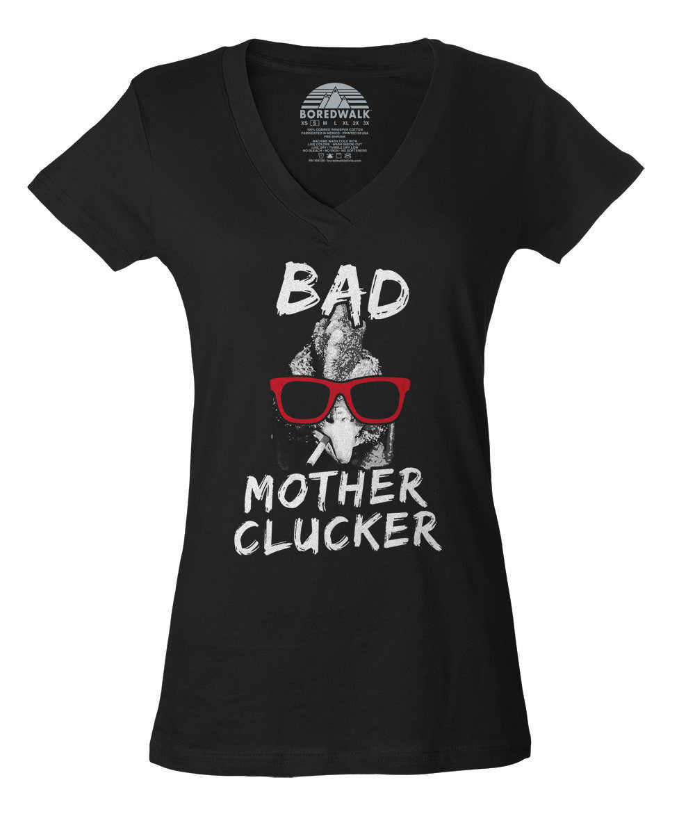 Women's Bad Mother Clucker Chicken Vneck T-Shirt