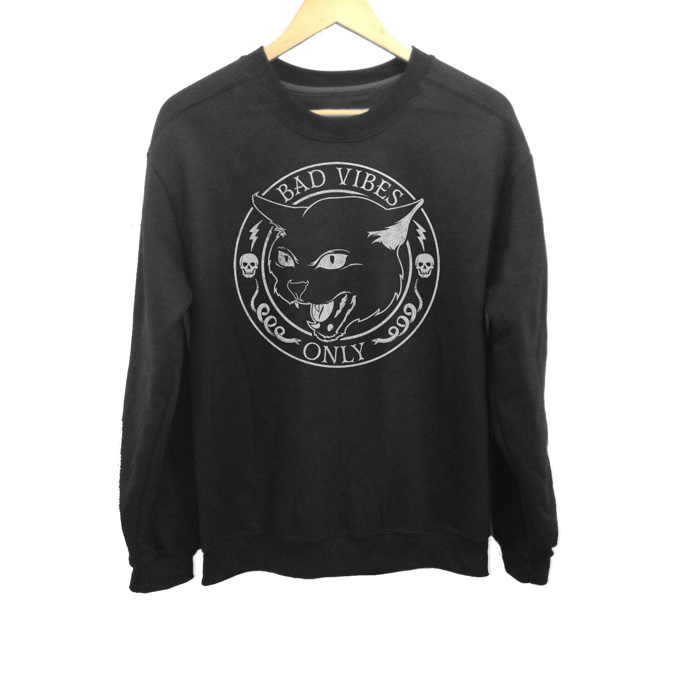 Unisex Bad Vibes Only Sweatshirt - Goth Shirt - Black Cat Shirt