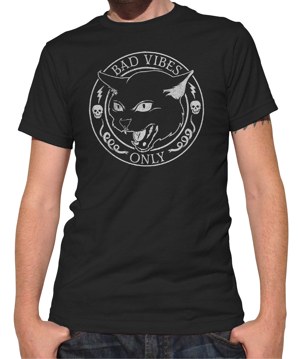 Men's Bad Vibes Only T-Shirt - Goth Shirt - Black Cat Shirt