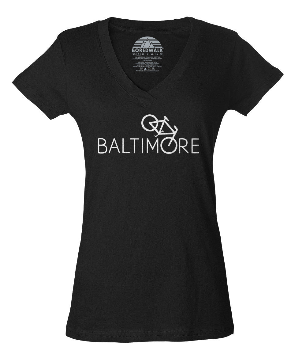 Women's Baltimore Bike Vneck T-Shirt