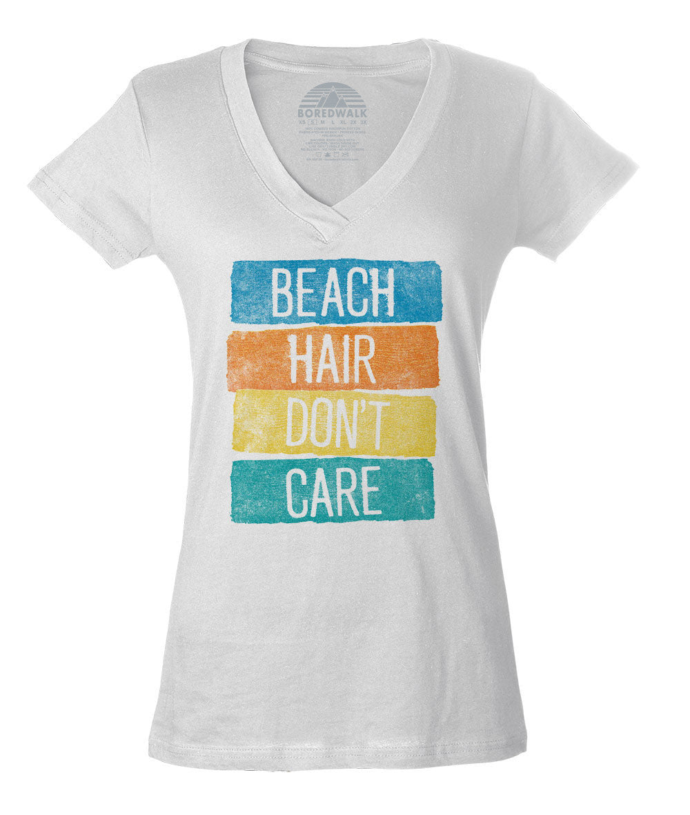 Women's Beach Hair Don't Care Vneck T-Shirt Summer Vacation