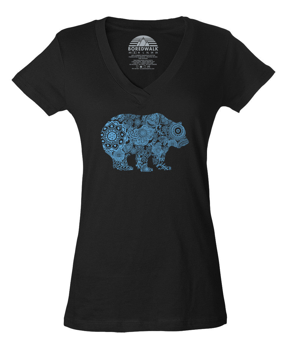 Women's Mandala Bear Vneck T-Shirt