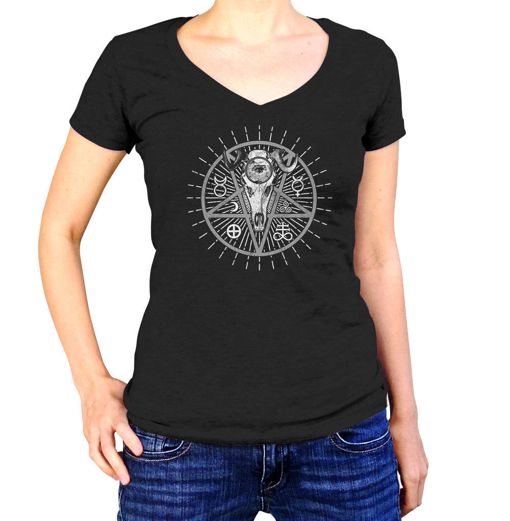 Women's Alchemical Pentagram Collage Vneck T-Shirt
