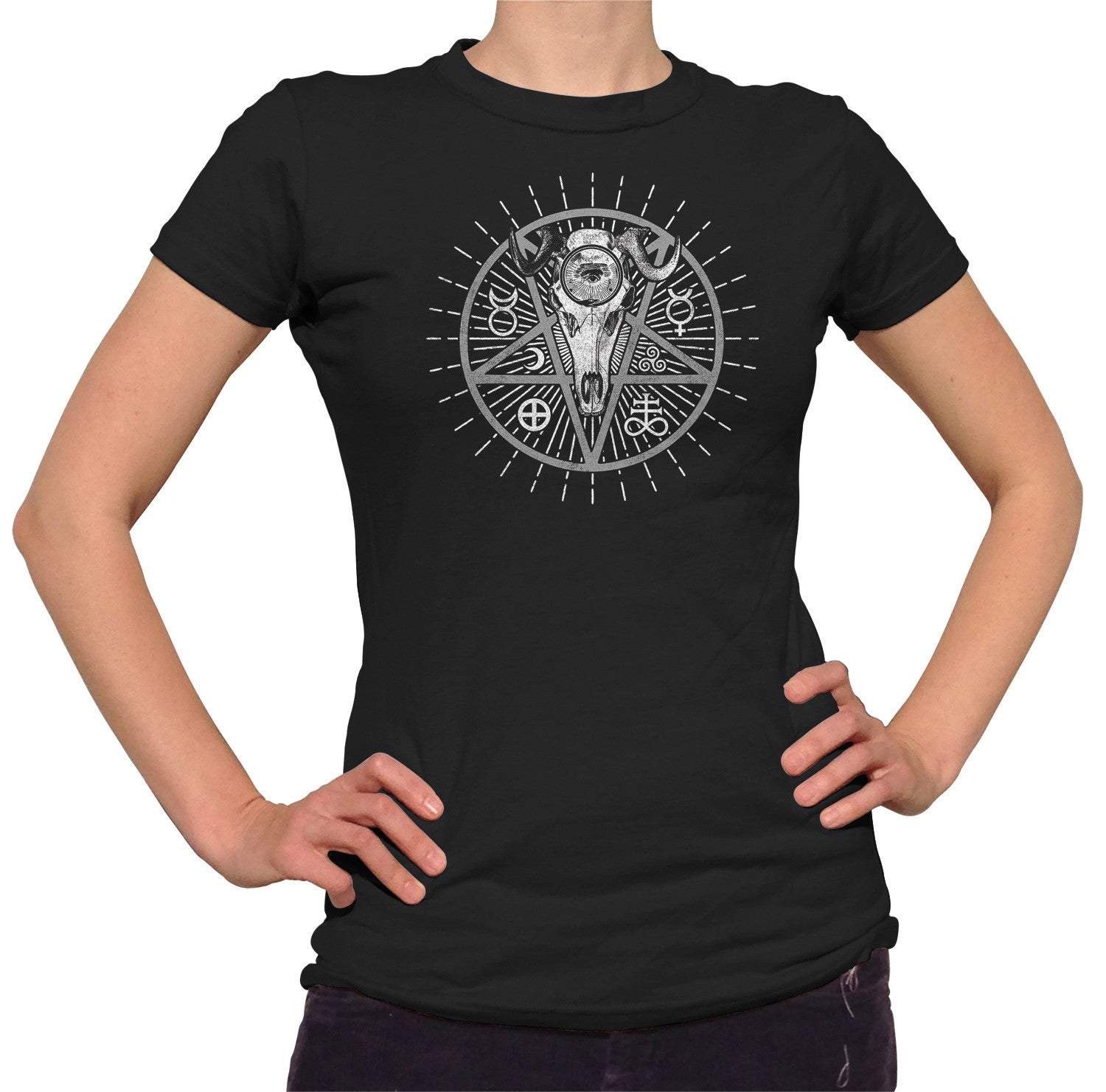 Women's Alchemical Pentagram Collage T-Shirt - Juniors Fit