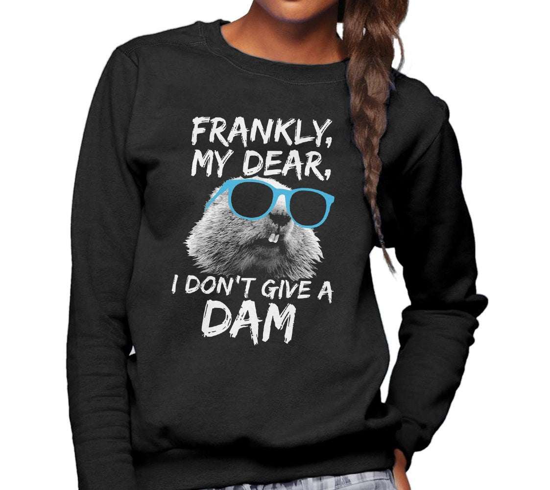 Unisex Frankly My Dear I Don't Give A Dam Beaver Sweatshirt - Sunglasses on a Beaver