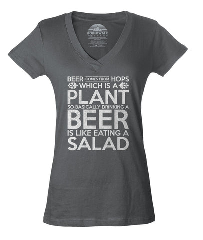 Women's Drinking Beer is like Eating Salad Vneck T-Shirt