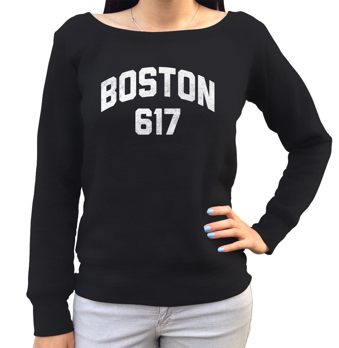 Women's Boston 617 Area Code Scoop Neck Fleece
