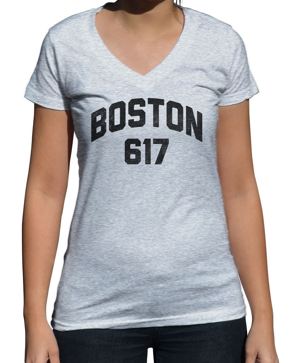 Women's Boston 617 Area Code Vneck T-Shirt
