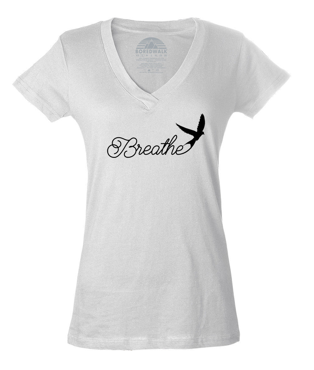 Women's Breathe Vneck T-Shirt Minimalist Bird