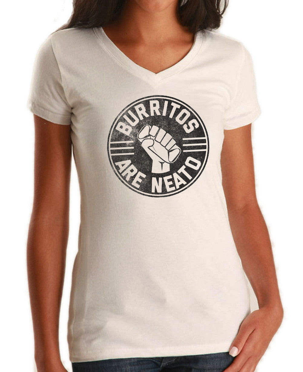 Women's Burritos Are Neato Vneck T-Shirt - Funny Hipster Foodie
