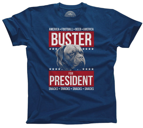 Men's Buster for President T-Shirt Election Political Funny Dog