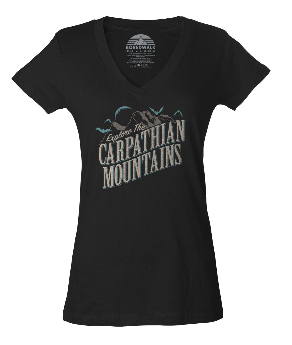 Women's Explore The Carpathian Mountains Vneck T-Shirt
