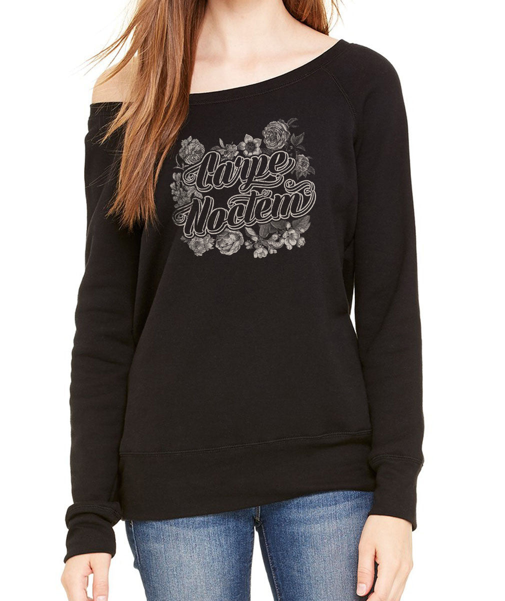 Women's Carpe Noctem Scoop Neck Fleece - Goth Soft Grunge Boho Vampire Seize the Night