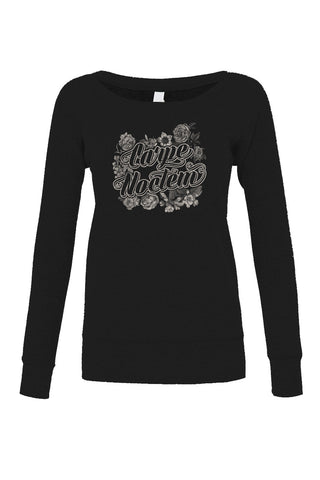 Women's Carpe Noctem Scoop Neck Fleece - Juniors Fit - Goth Soft Grunge Boho Vampire Seize the Night