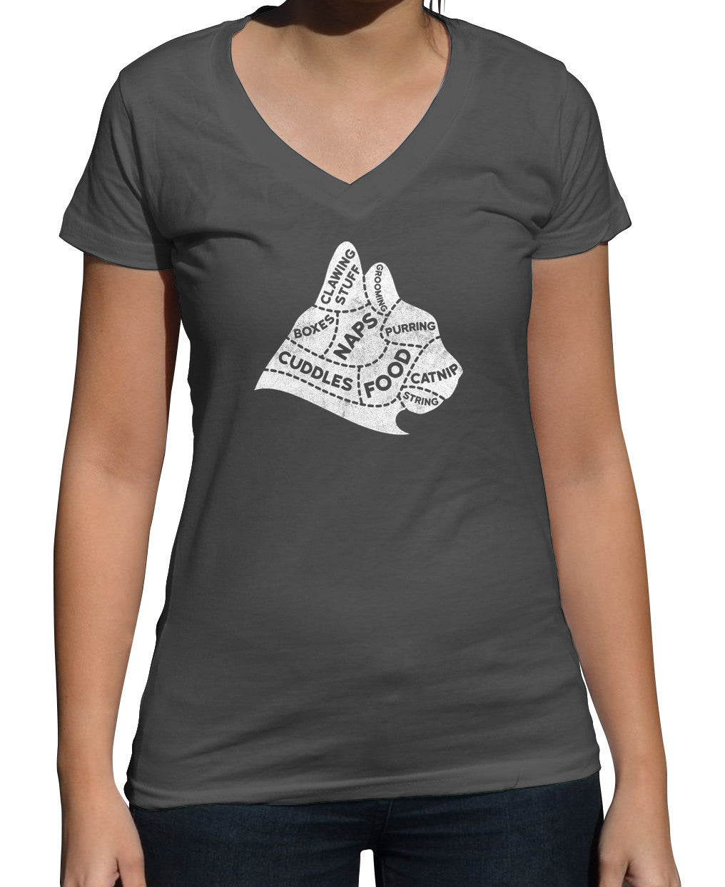 Women's The Mind of A Cat Vneck T-Shirt