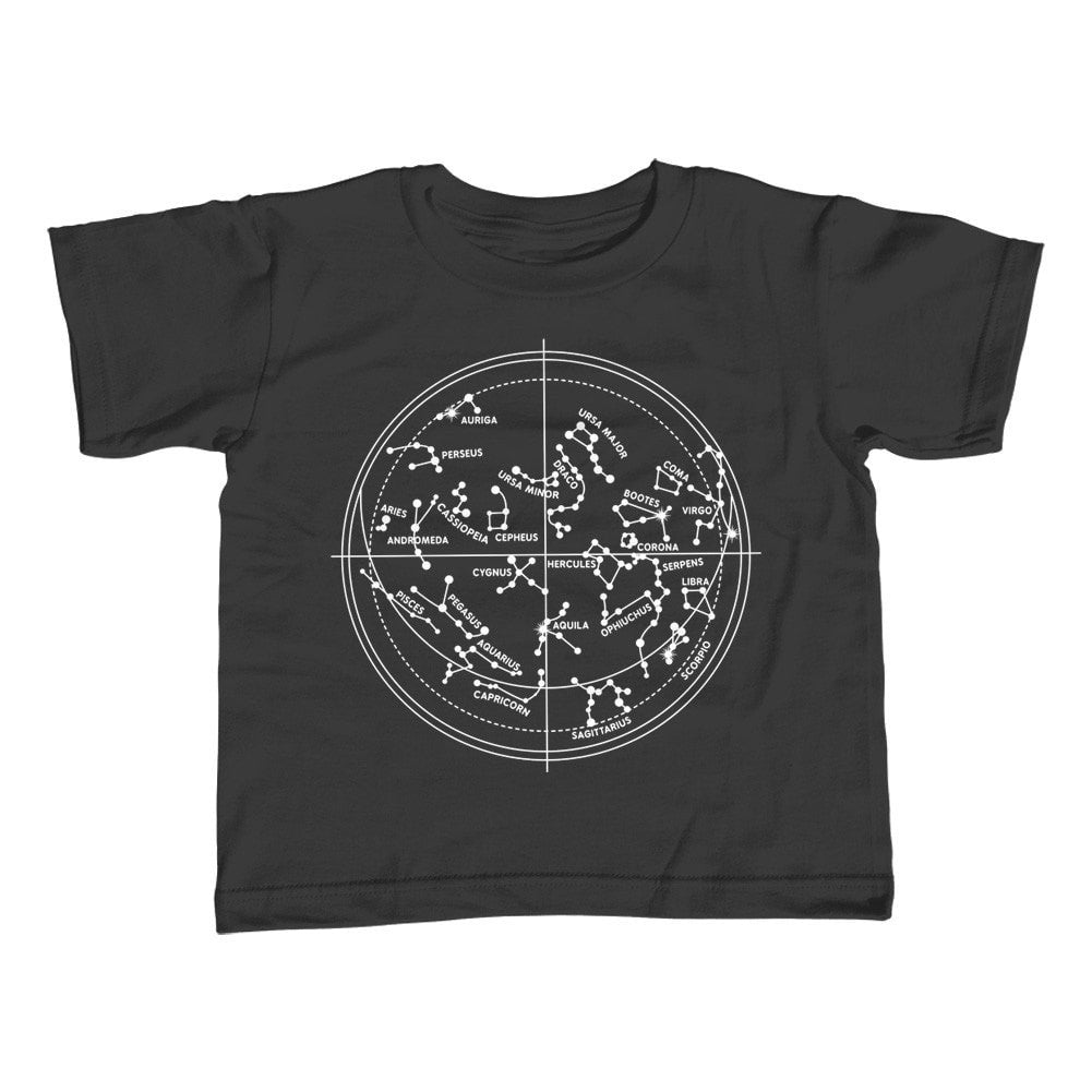 Girl's Constellation Map T-Shirt - Unisex Fit Astronomy Constellation Chart