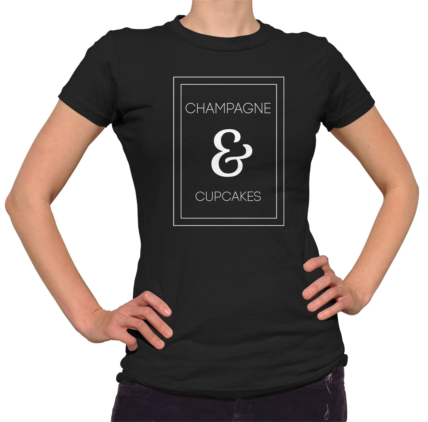 Women's Champagne and Cupcakes T-Shirt - Juniors Fit