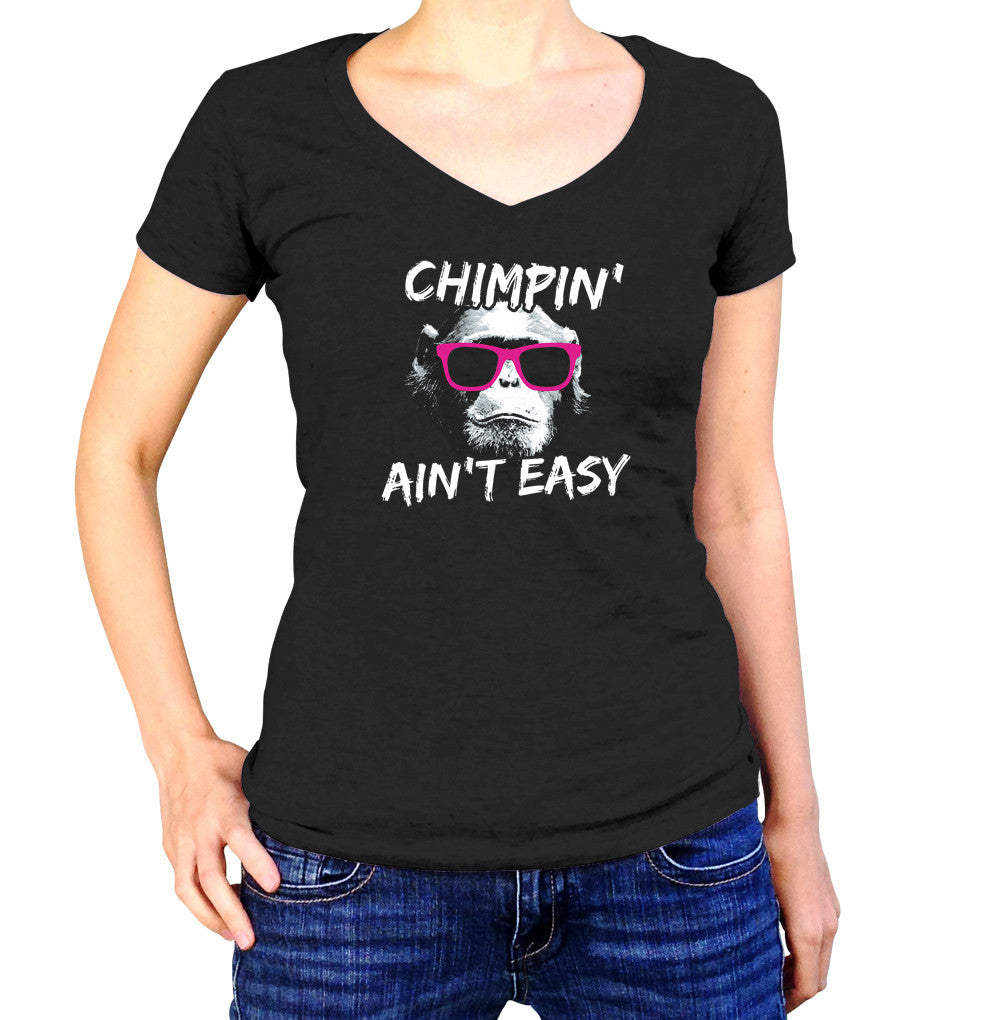Women's Chimpin Ain't Easy Vneck T-Shirt