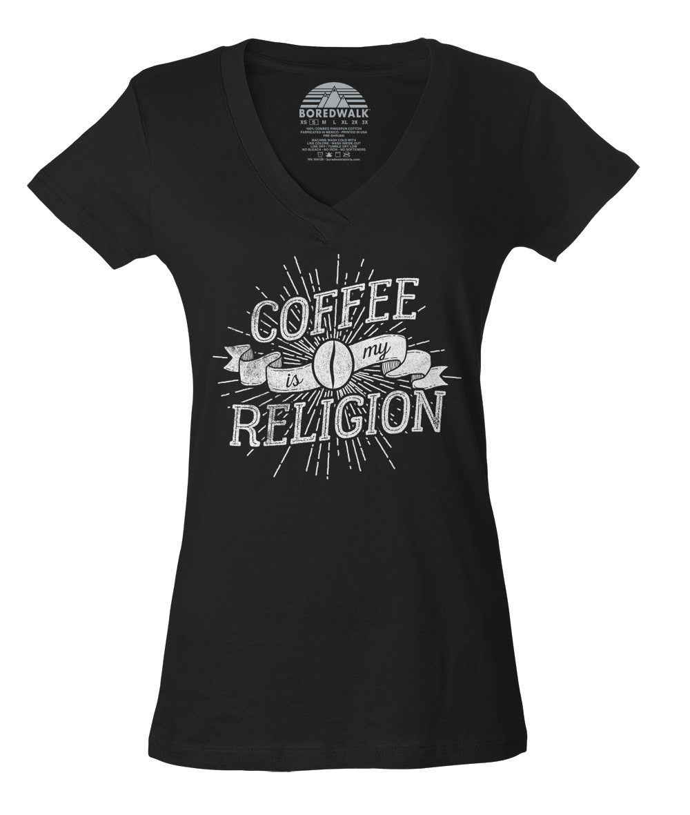 Women's Coffee Is My Religion Vneck T-Shirt