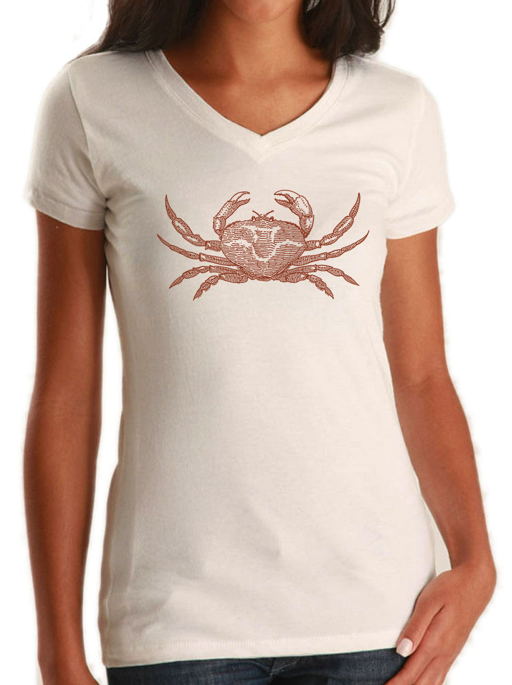 Women's Crab Vneck T-Shirt Cancer Zodiac Beach