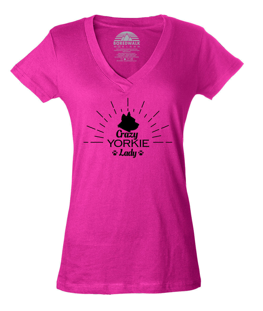 Women's Crazy Yorkie Lady Vneck T-Shirt