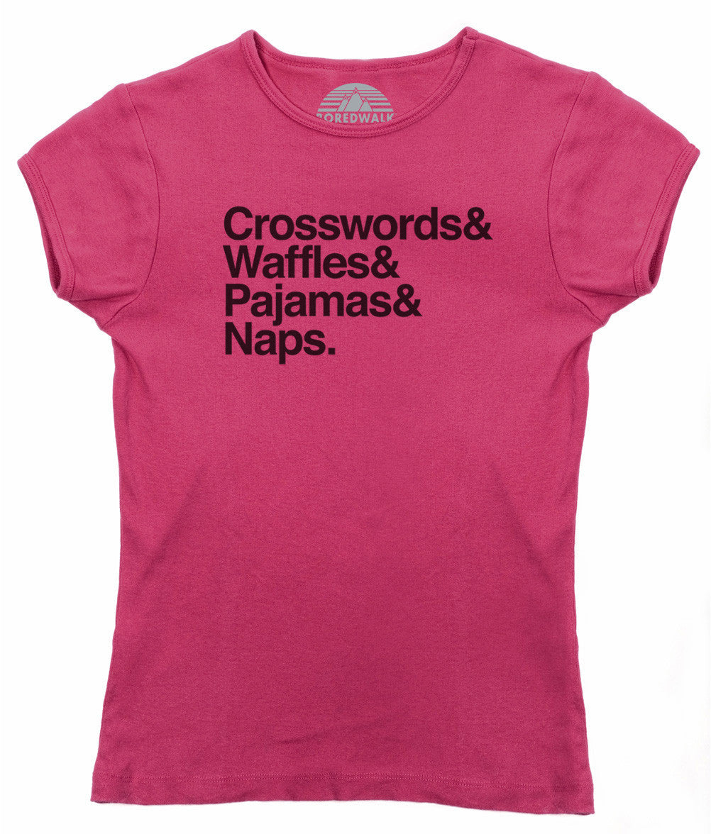Women's Crosswords and Waffles and Pajamas and Naps T-Shirt