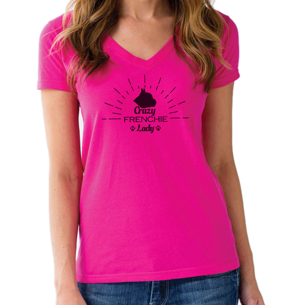 Women's Crazy Frenchie Lady Vneck T-Shirt - Juniors Fit
