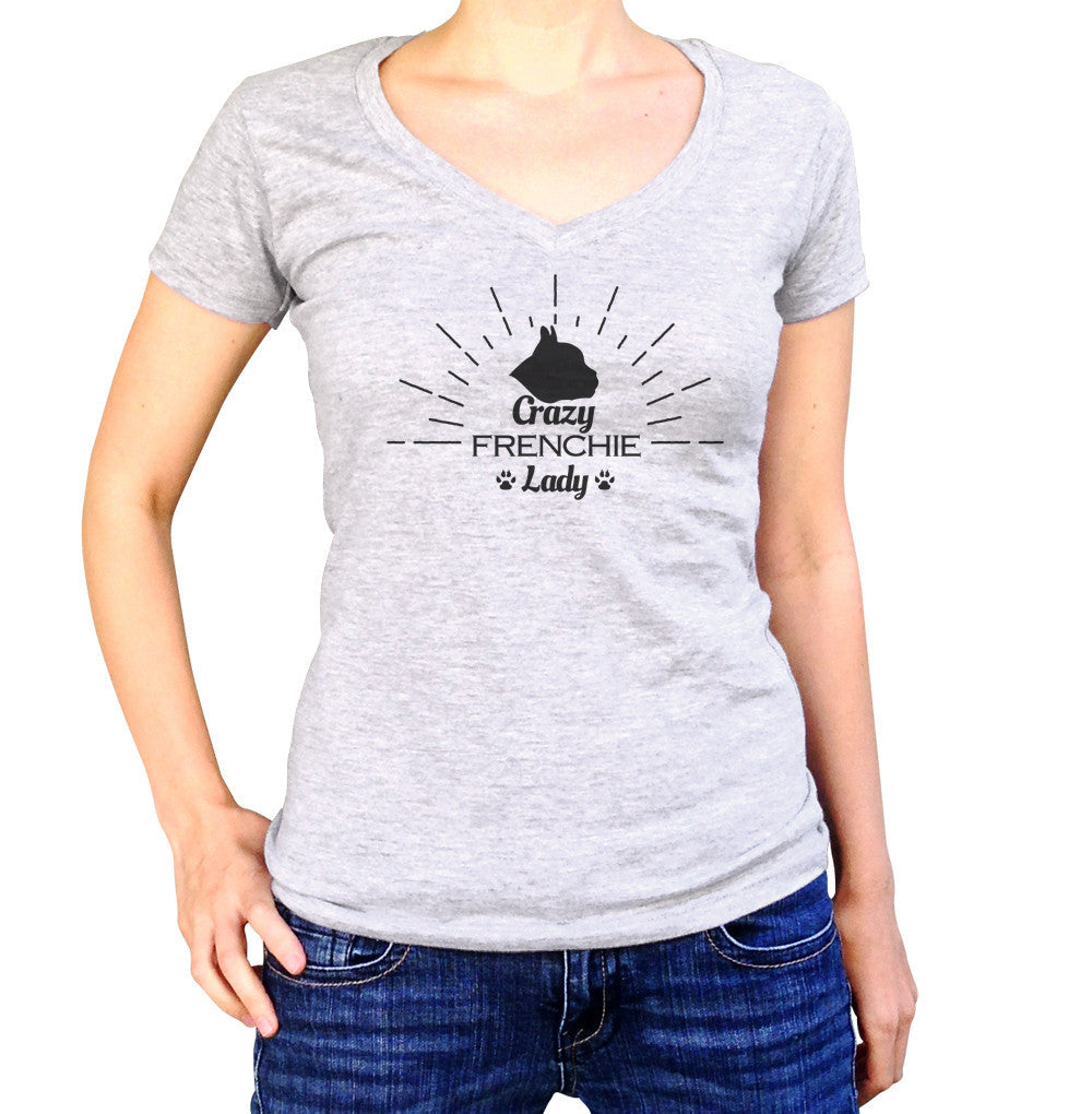 Women's Crazy Frenchie Lady Vneck T-Shirt