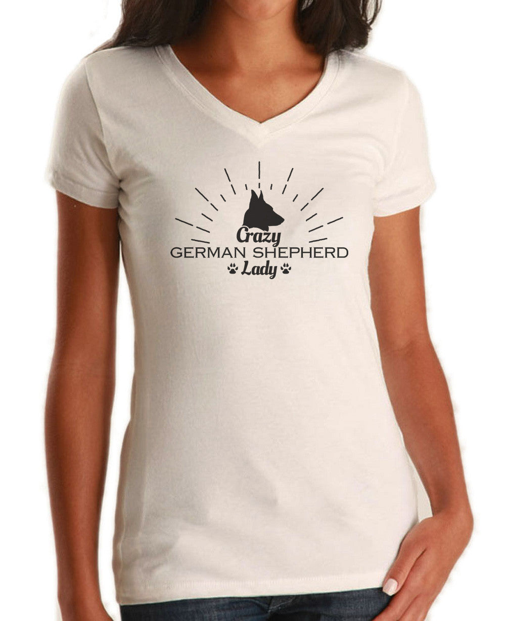 Women's Crazy German Shepherd Lady Vneck T-Shirt - Juniors Fit