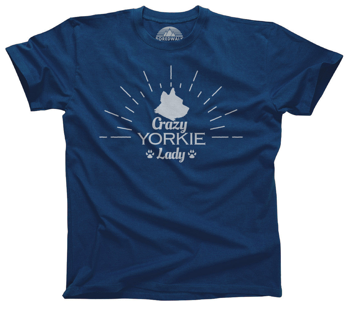 Women's Crazy Yorkie Lady T-Shirt  - Relaxed Unisex Fit