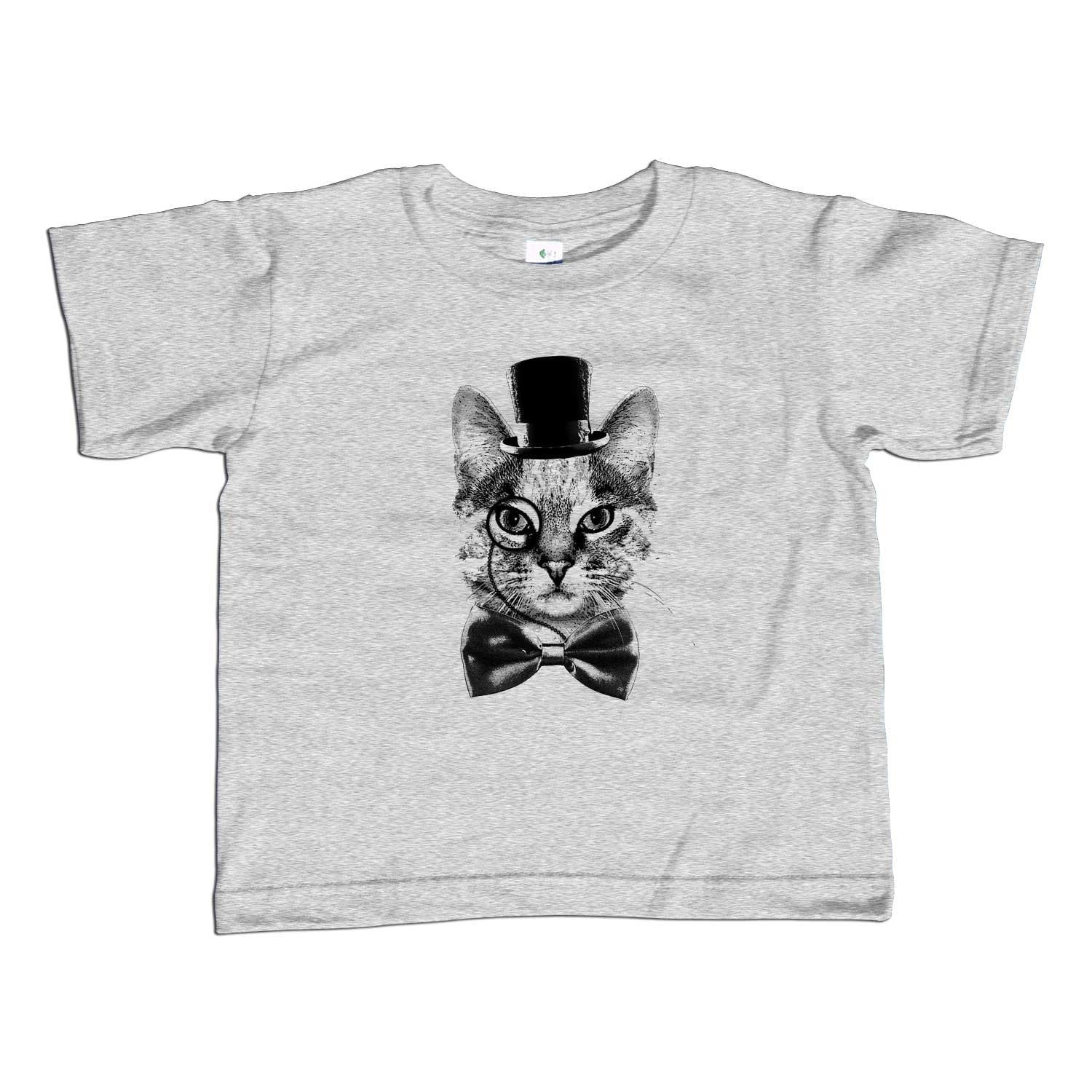 Boy's Steampunk Cat T-Shirt Monocle Top Hat Bowtie