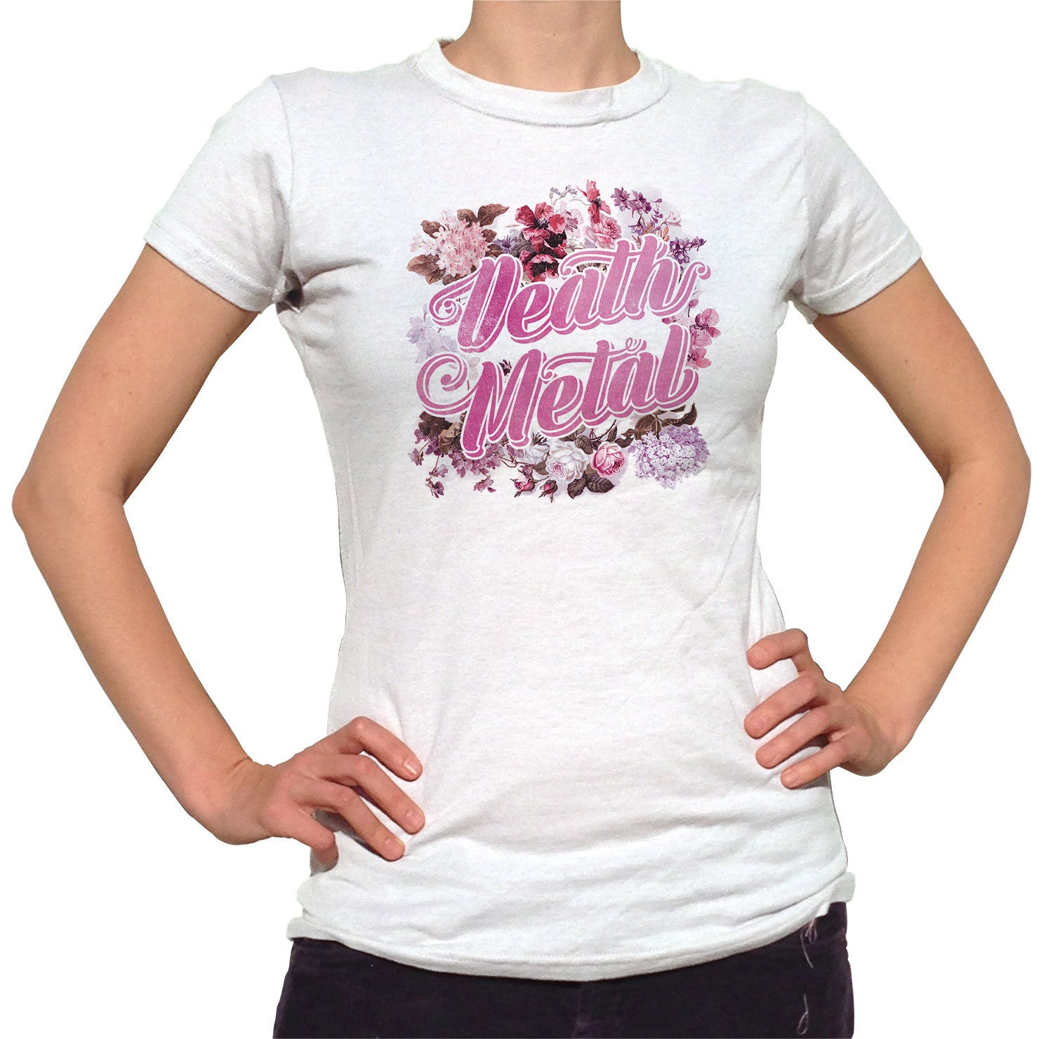 Women's Funny Floral Death Metal T-Shirt