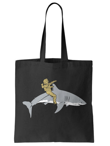 Diver Riding a Shark Tote Bag - By Ex-Boyfriend