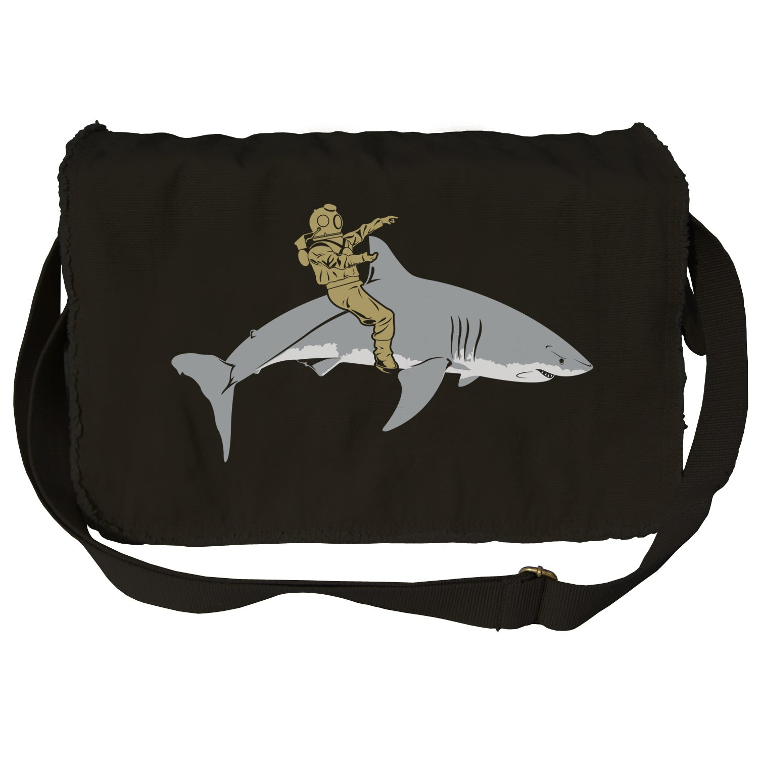 Diver Riding a Shark Messenger Bag - By Ex-Boyfriend