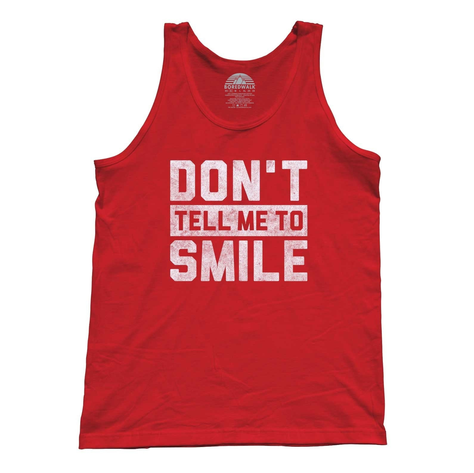 Unisex Don't Tell Me to Smile Tank Top Street Harassment Tank Top