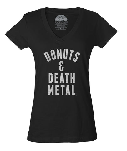 Women's Donuts and Death Metal Vneck T-Shirt