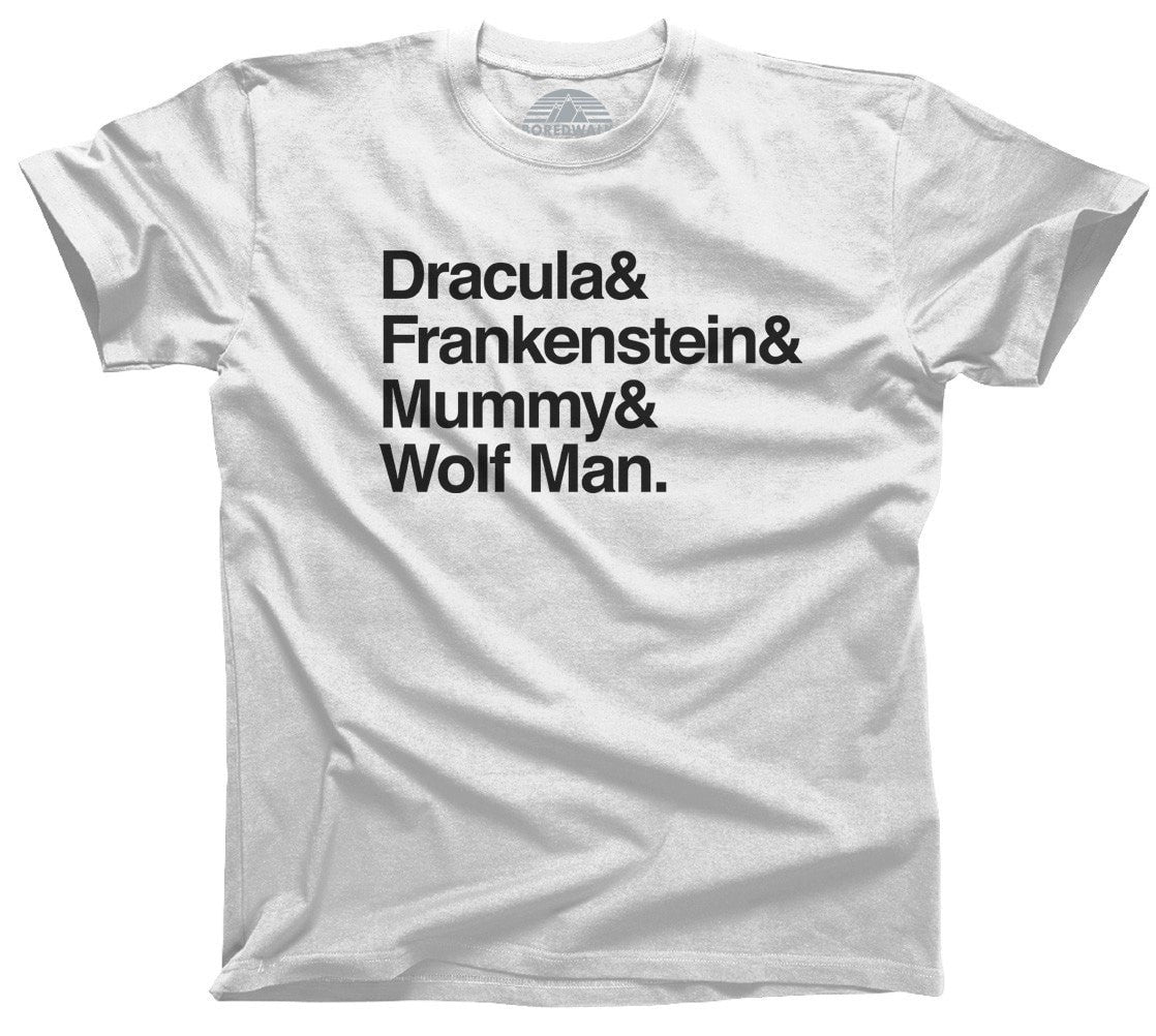 Men's Dracula and Frankenstein and Mummy and Wolf Man T-Shirt