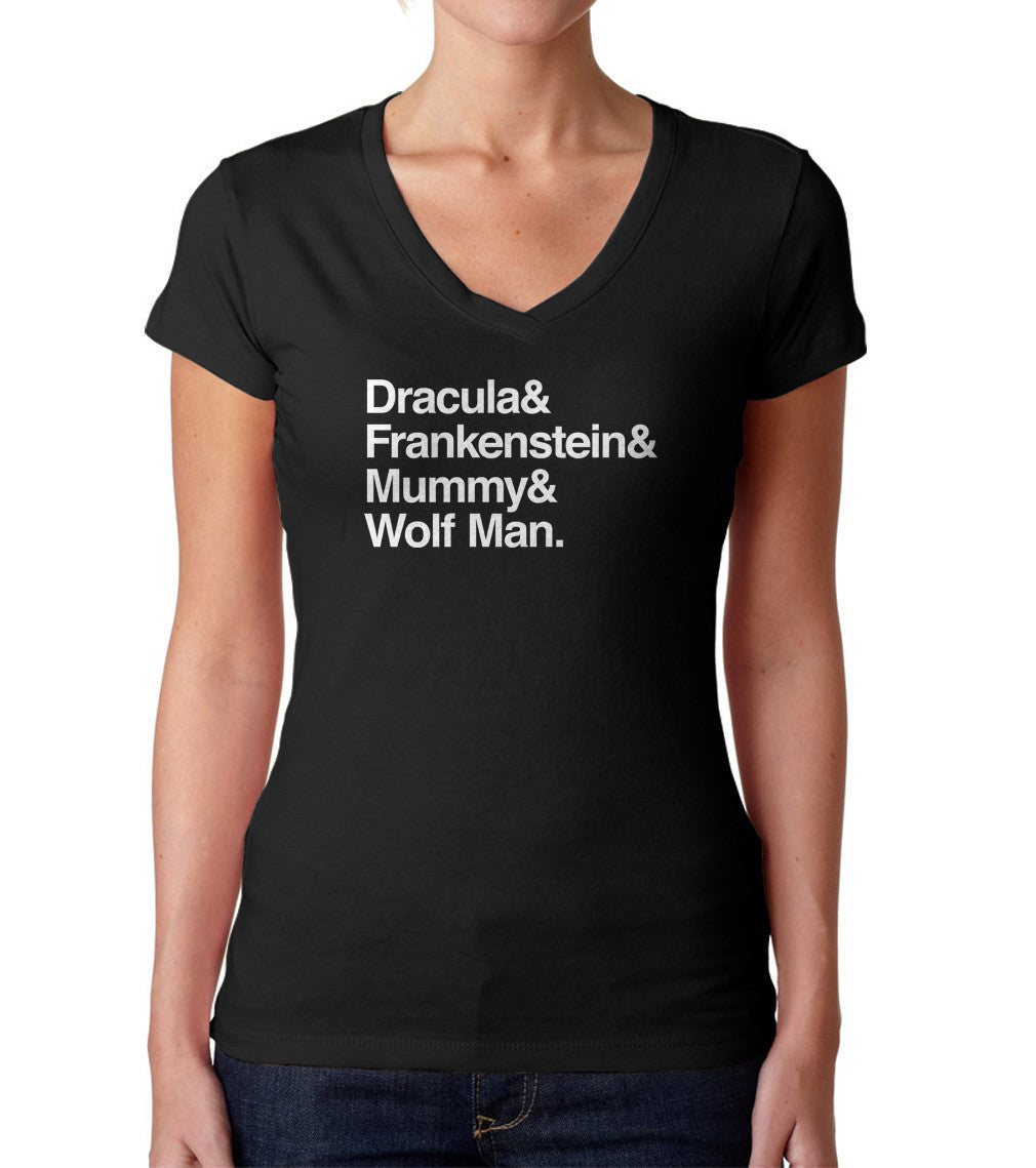 Women's Dracula and Frankenstein and Mummy and Wolf Man Vneck T-Shirt - Juniors Fit