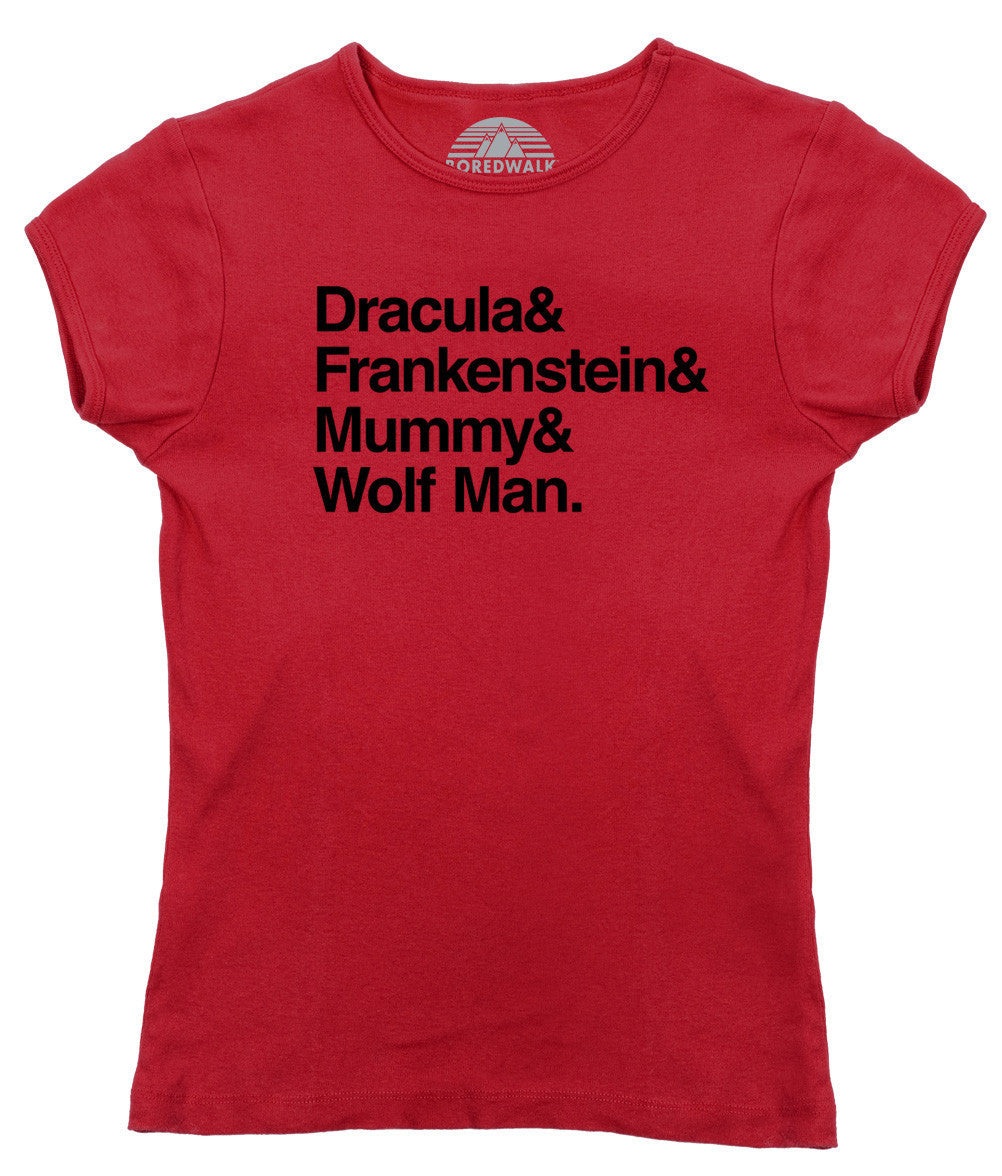 Women's Dracula and Frankenstein and Mummy and Wolf Man T-Shirt - Juniors Fit