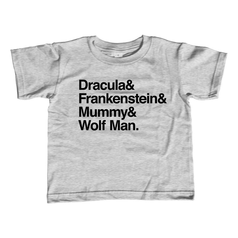 Girl's Dracula and Frankenstein and Mummy and Wolf Man T-Shirt - Unisex Fit