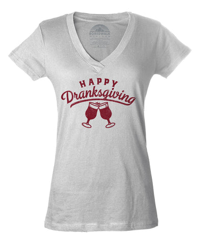 Women's Happy Dranksgiving Vneck T-Shirt - Thanksgiving Shirt