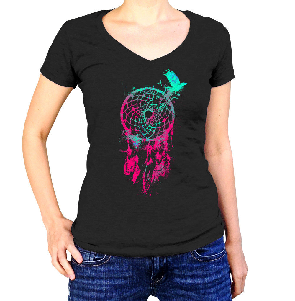 Women's DreamCatcher and Bird Vneck T-Shirt
