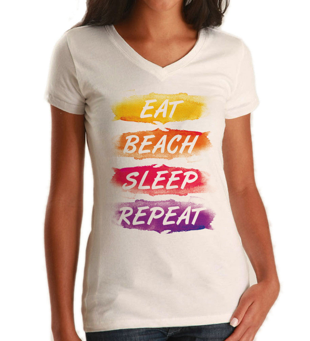 Women's Eat Beach Sleep Repeat Vneck T-Shirt