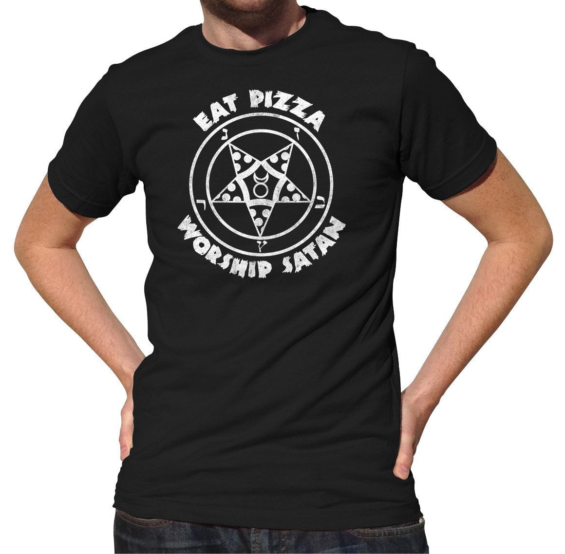 Men's Eat Pizza Worship Satan T-Shirt